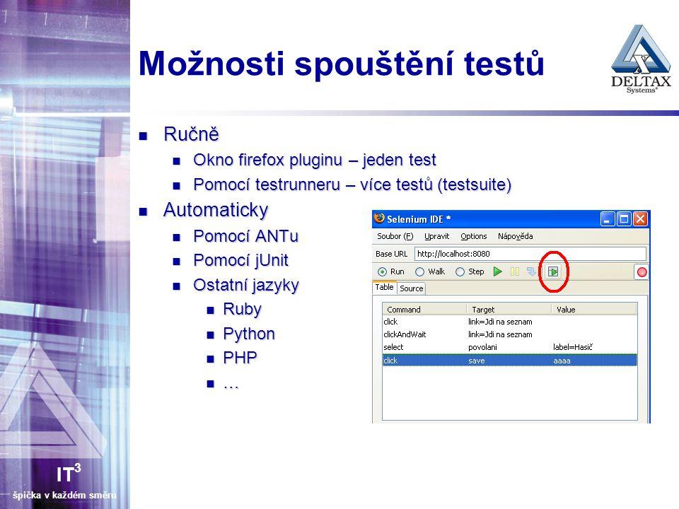 IT 3 špička v každém směru Možnosti spouštění testů Ručně Ručně Okno firefox pluginu – jeden test Okno firefox pluginu – jeden test Pomocí testrunneru – více testů (testsuite) Pomocí testrunneru – více testů (testsuite) Automaticky Automaticky Pomocí ANTu Pomocí ANTu Pomocí jUnit Pomocí jUnit Ostatní jazyky Ostatní jazyky Ruby Ruby Python Python PHP PHP …