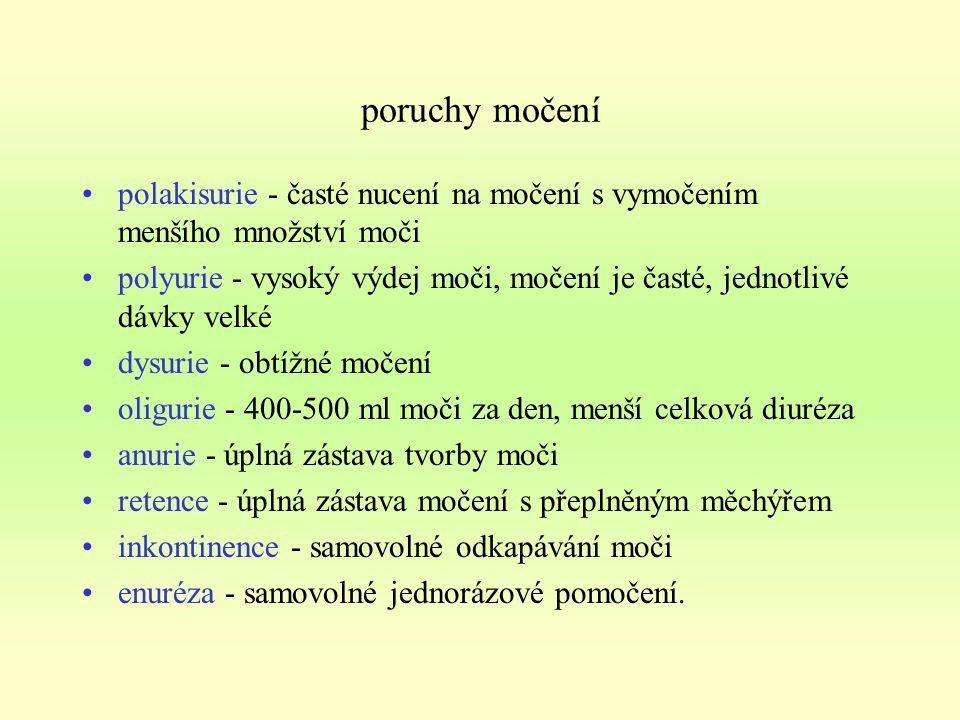 CYSTITIDA = zánět močového měchýře - infekce příčiny: nejčastějším původcem je bakterie Escherichia Coli (bakterie žijící v tlustém střevě) onemocnění prostaty, zúžení močové trubice, ochabnutí močového měchýře, močové kameny, nádory - způsobují nedostatečné vyprazdňování moč.