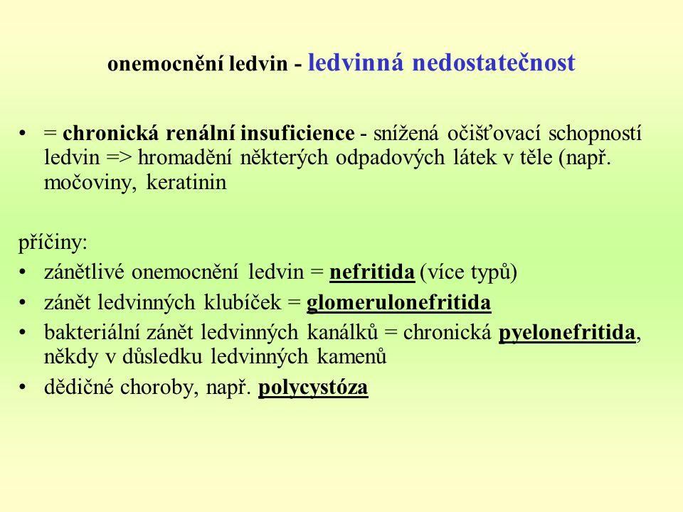 onemocnění ledvin - ledvinná nedostatečnost = chronická renální insuficience - snížená očišťovací schopností ledvin => hromadění některých odpadových látek v těle (např.