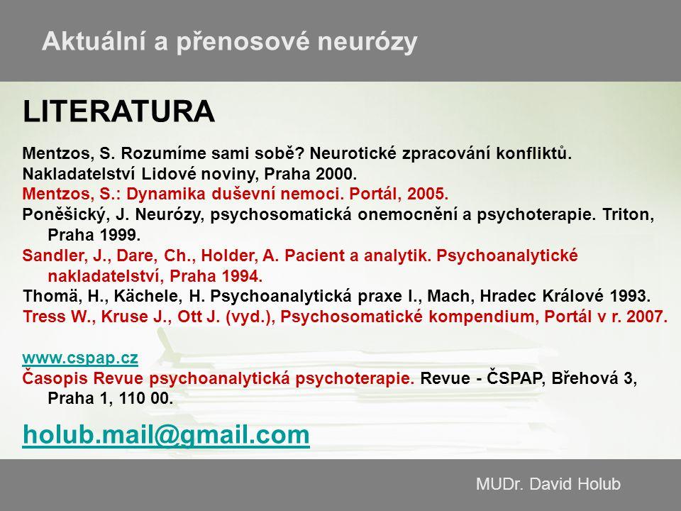 MUDr. David Holub LITERATURA Mentzos, S. Rozumíme sami sobě? Neurotické zpracování konfliktů. Nakladatelství Lidové noviny, Praha 2000. Mentzos, S.: D