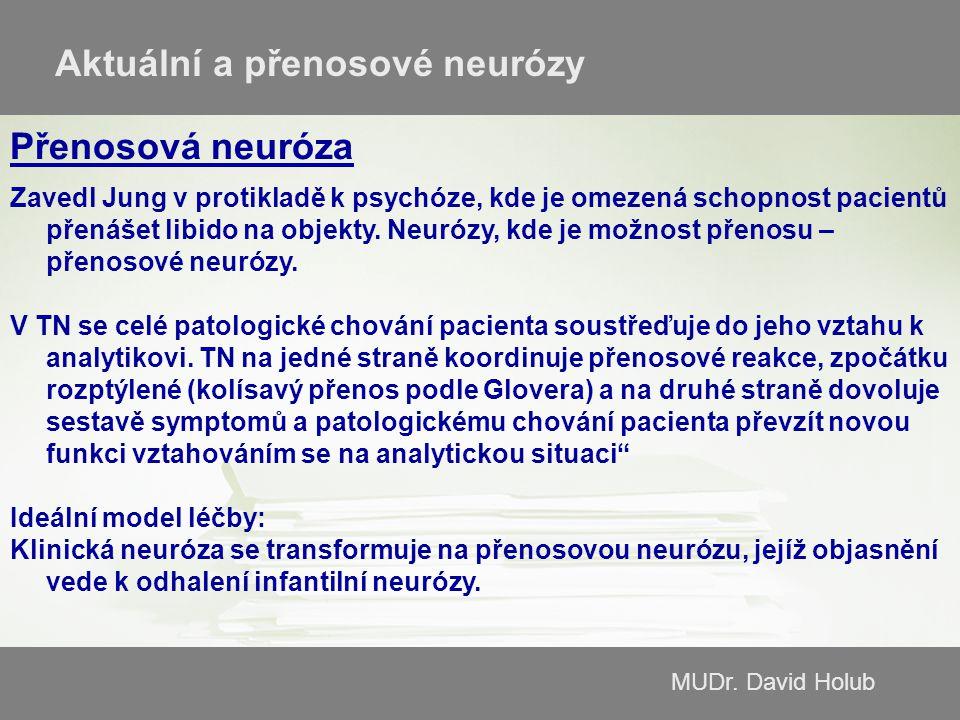 MUDr. David Holub Aktuální a přenosové neurózy Přenosová neuróza Zavedl Jung v protikladě k psychóze, kde je omezená schopnost pacientů přenášet libid
