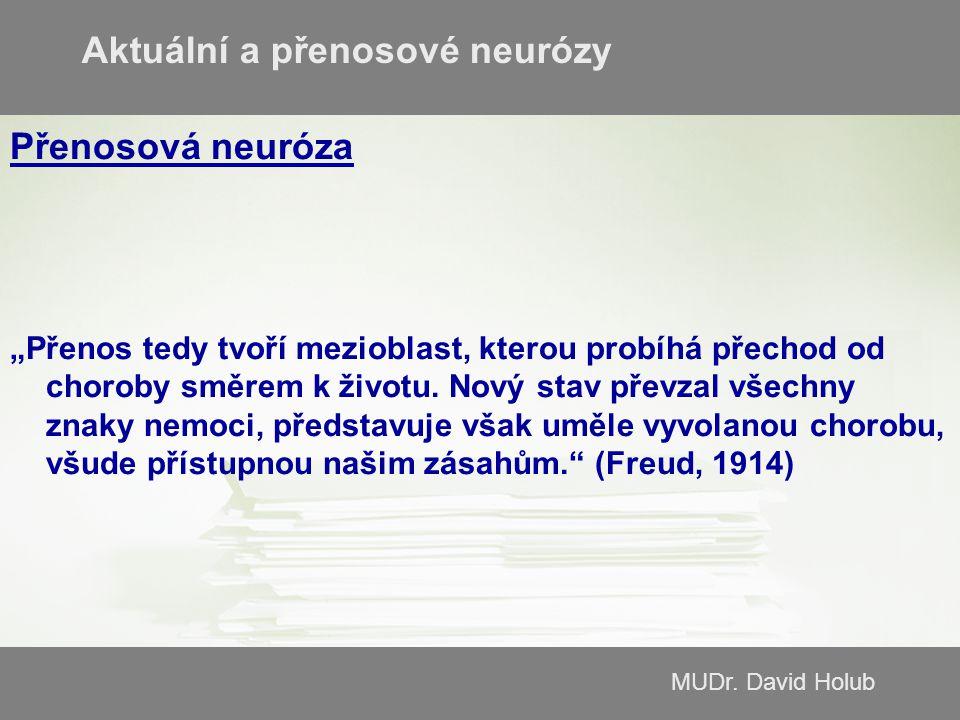 """MUDr. David Holub Přenosová neuróza """"Přenos tedy tvoří mezioblast, kterou probíhá přechod od choroby směrem k životu. Nový stav převzal všechny znaky"""