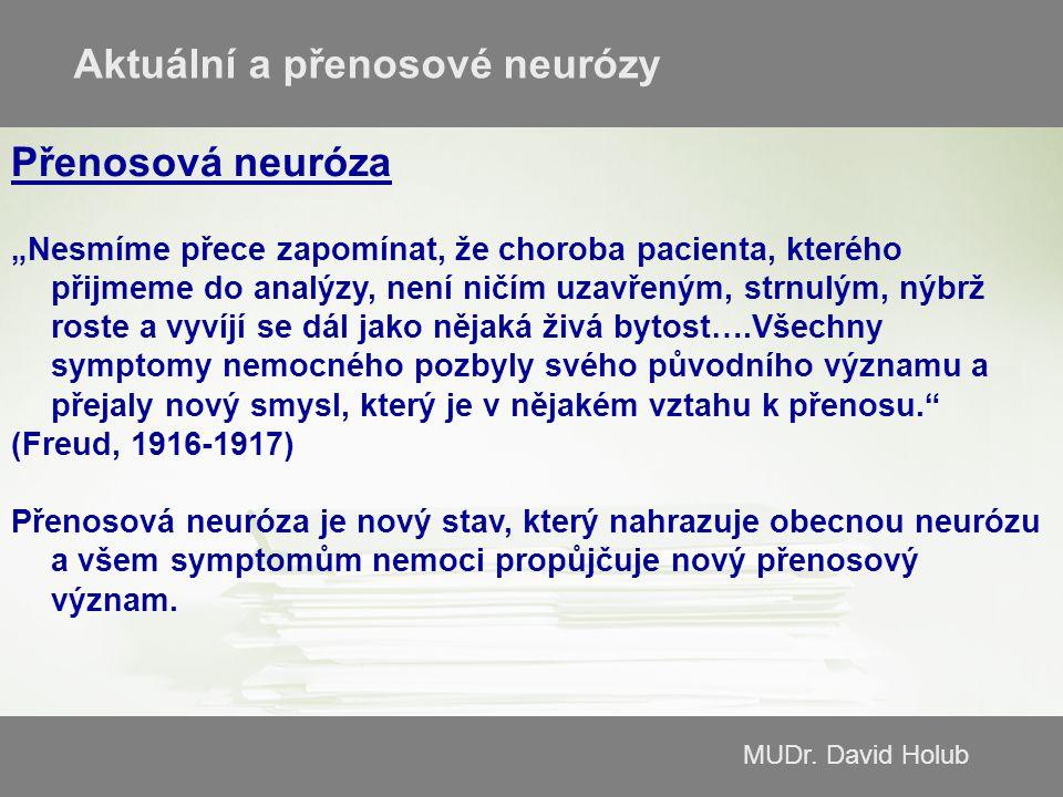 """MUDr. David Holub Přenosová neuróza """"Nesmíme přece zapomínat, že choroba pacienta, kterého přijmeme do analýzy, není ničím uzavřeným, strnulým, nýbrž"""