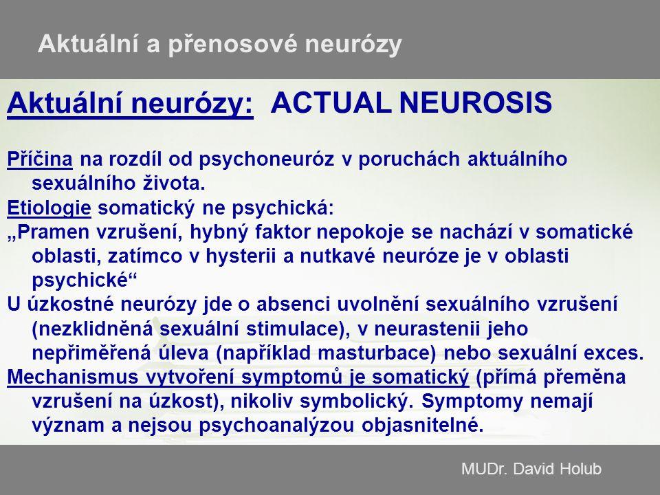 MUDr. David Holub Aktuální a přenosové neurózy Aktuální neurózy:ACTUAL NEUROSIS Příčina na rozdíl od psychoneuróz v poruchách aktuálního sexuálního ži