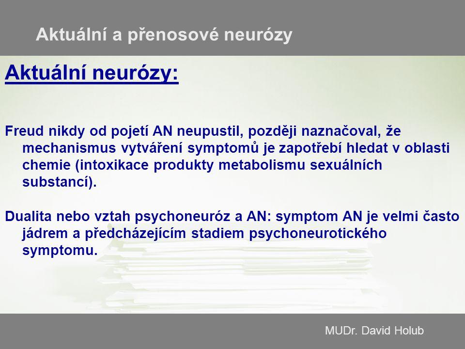 MUDr. David Holub Aktuální a přenosové neurózy Aktuální neurózy: Freud nikdy od pojetí AN neupustil, později naznačoval, že mechanismus vytváření symp
