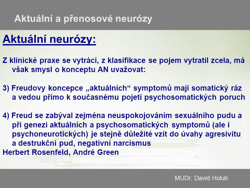 MUDr. David Holub Aktuální a přenosové neurózy Aktuální neurózy: Z klinické praxe se vytrácí, z klasifikace se pojem vytratil zcela, má však smysl o k