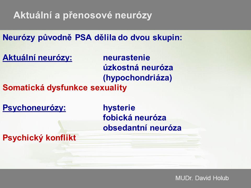 MUDr. David Holub Neurózy původně PSA dělila do dvou skupin: Aktuální neurózy:neurastenie úzkostná neuróza (hypochondriáza) Somatická dysfunkce sexual