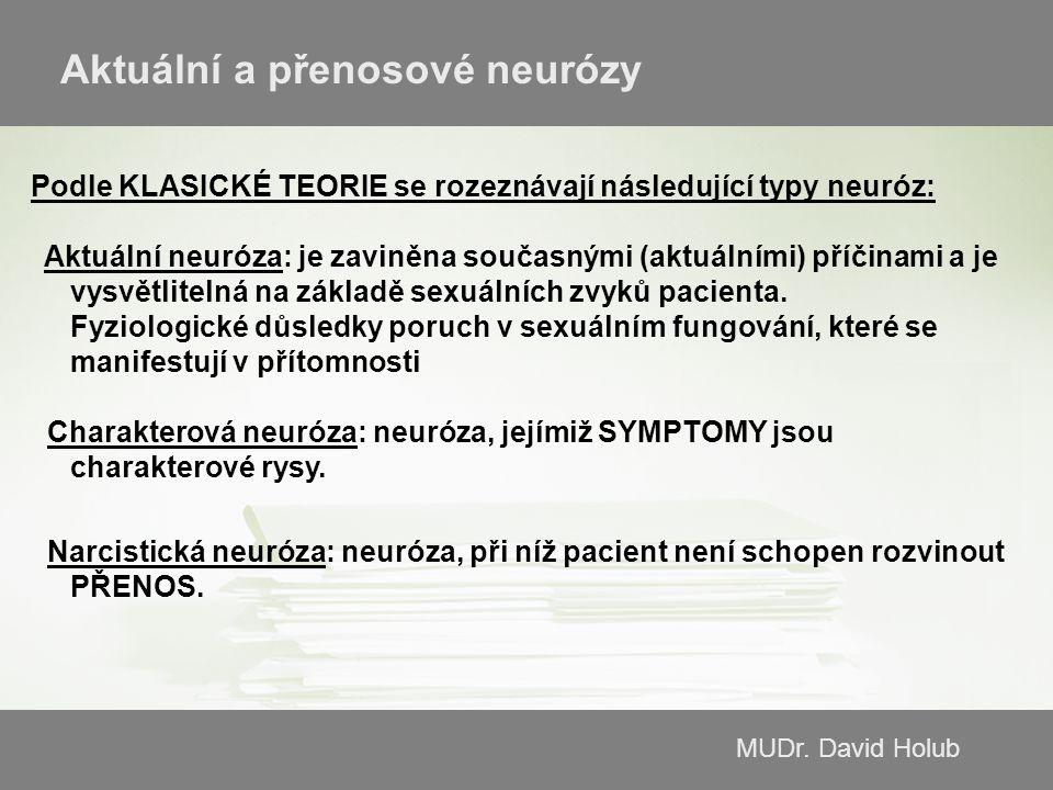 MUDr. David Holub Aktuální a přenosové neurózy Podle KLASICKÉ TEORIE se rozeznávají následující typy neuróz: Aktuální neuróza: je zaviněna současnými