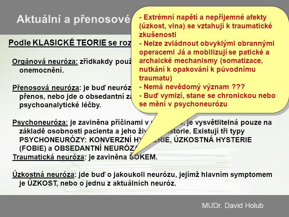 MUDr. David Holub Aktuální a přenosové neurózy Podle KLASICKÉ TEORIE se rozeznávají následující typy neuróz: Orgánová neuróza: zřídkakdy používaný výr
