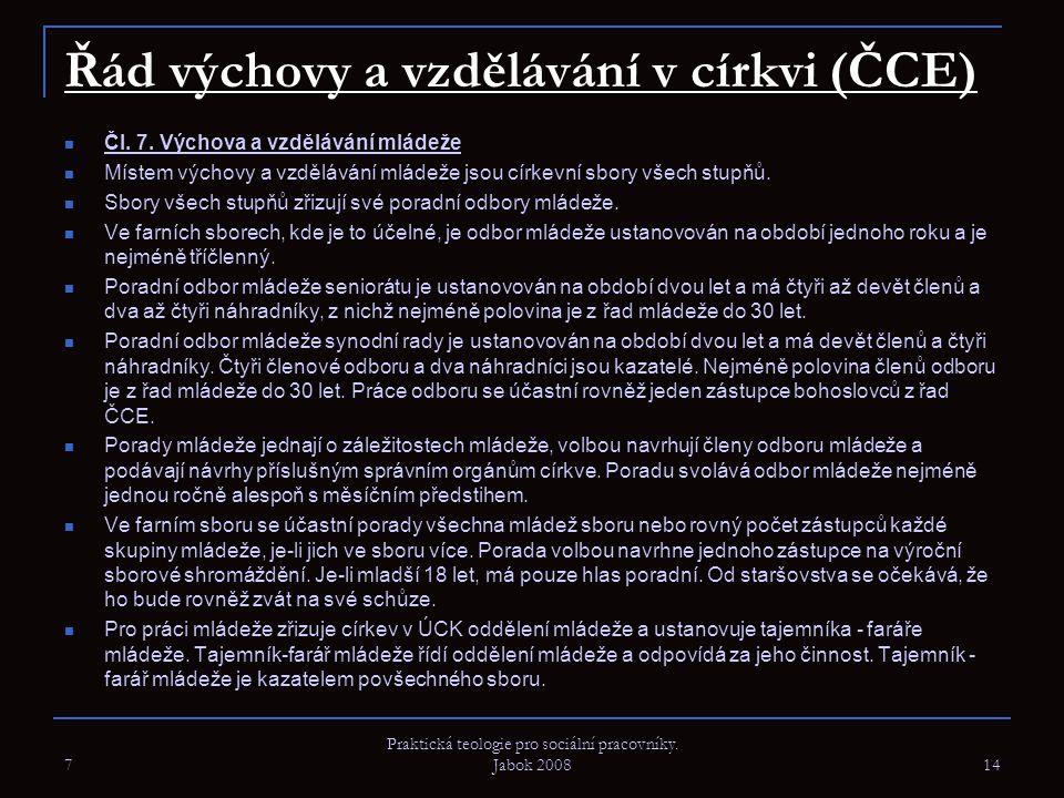 Řád výchovy a vzdělávání v církvi (ČCE) Čl. 7. Výchova a vzdělávání mládeže Místem výchovy a vzdělávání mládeže jsou církevní sbory všech stupňů. Sbor
