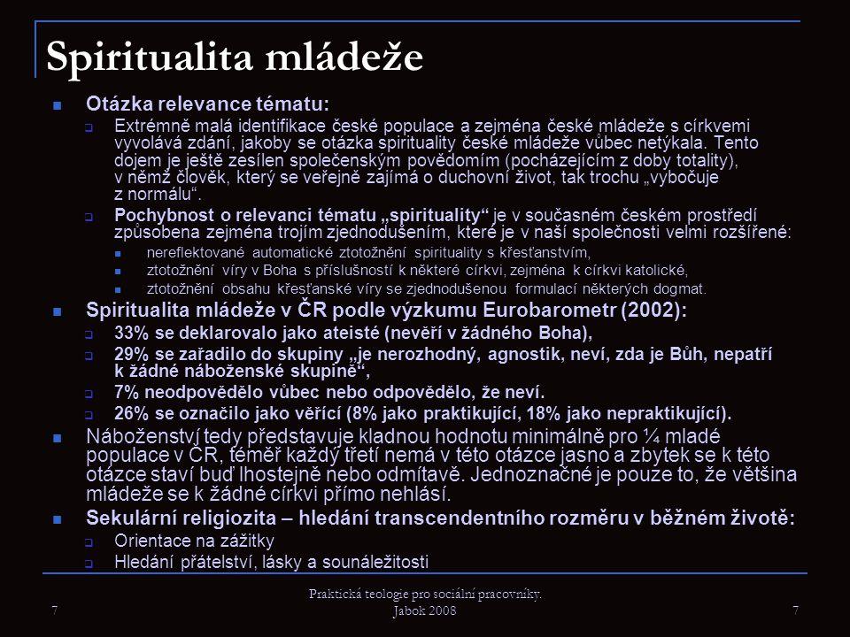 7 Praktická teologie pro sociální pracovníky. Jabok 2008 7 Spiritualita mládeže Otázka relevance tématu:  Extrémně malá identifikace české populace a