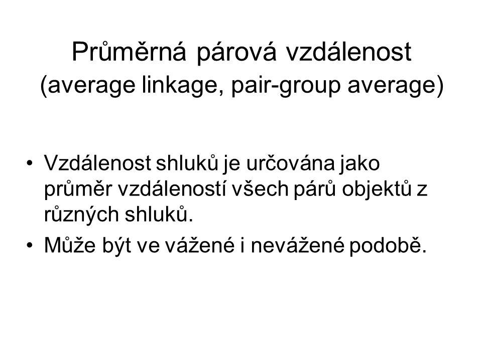 Průměrná párová vzdálenost (average linkage, pair-group average) Vzdálenost shluků je určována jako průměr vzdáleností všech párů objektů z různých sh