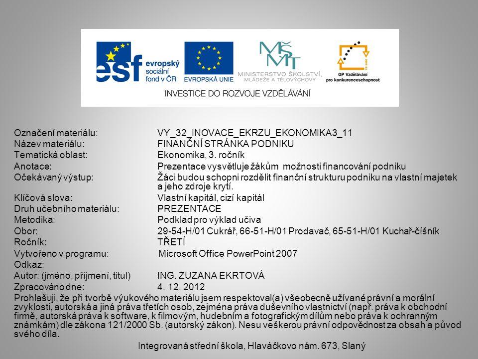 Označení materiálu: VY_32_INOVACE_EKRZU_EKONOMIKA3_11 Název materiálu:FINANČNÍ STRÁNKA PODNIKU Tematická oblast:Ekonomika, 3.