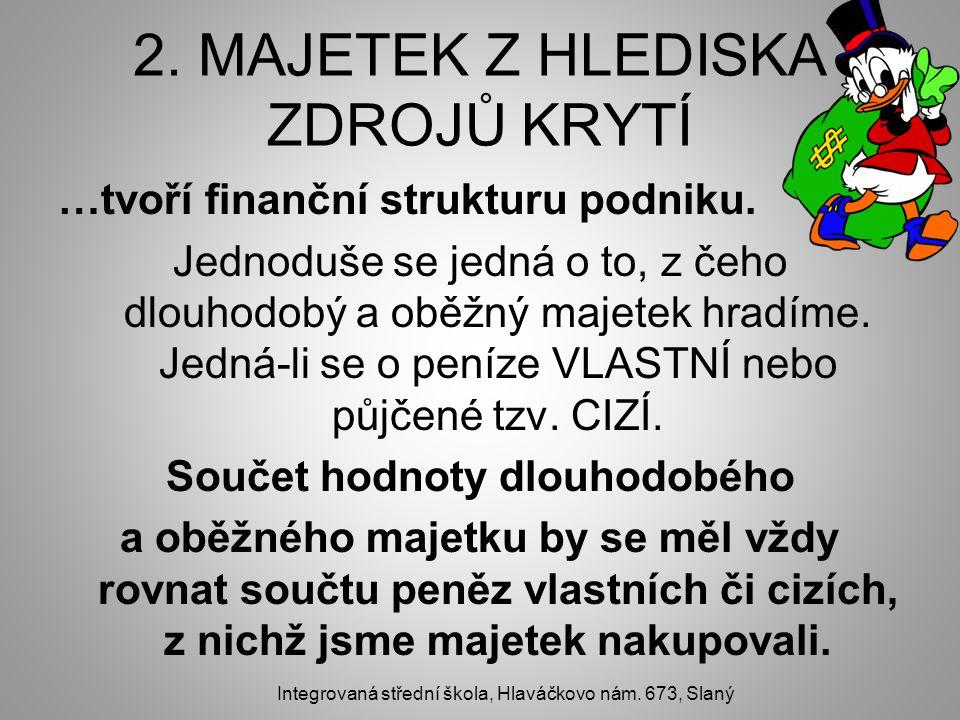 2. MAJETEK Z HLEDISKA ZDROJŮ KRYTÍ …tvoří finanční strukturu podniku.