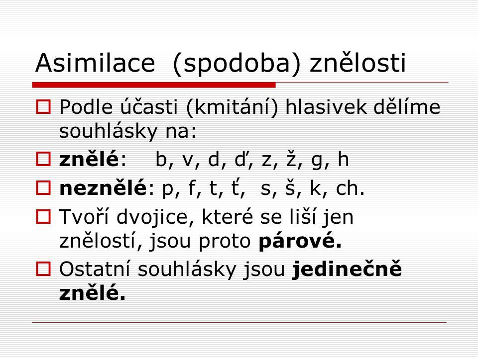 Asimilace (spodoba) znělosti  Podle účasti (kmitání) hlasivek dělíme souhlásky na:  znělé: b, v, d, ď, z, ž, g, h  neznělé: p, f, t, ť, s, š, k, ch