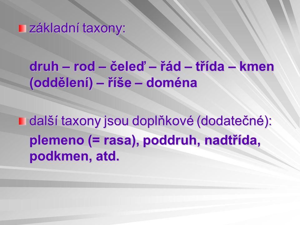základní taxony: druh – rod – čeleď – řád – třída – kmen (oddělení) – říše – doména další taxony jsou doplňkové (dodatečné): plemeno (= rasa), poddruh