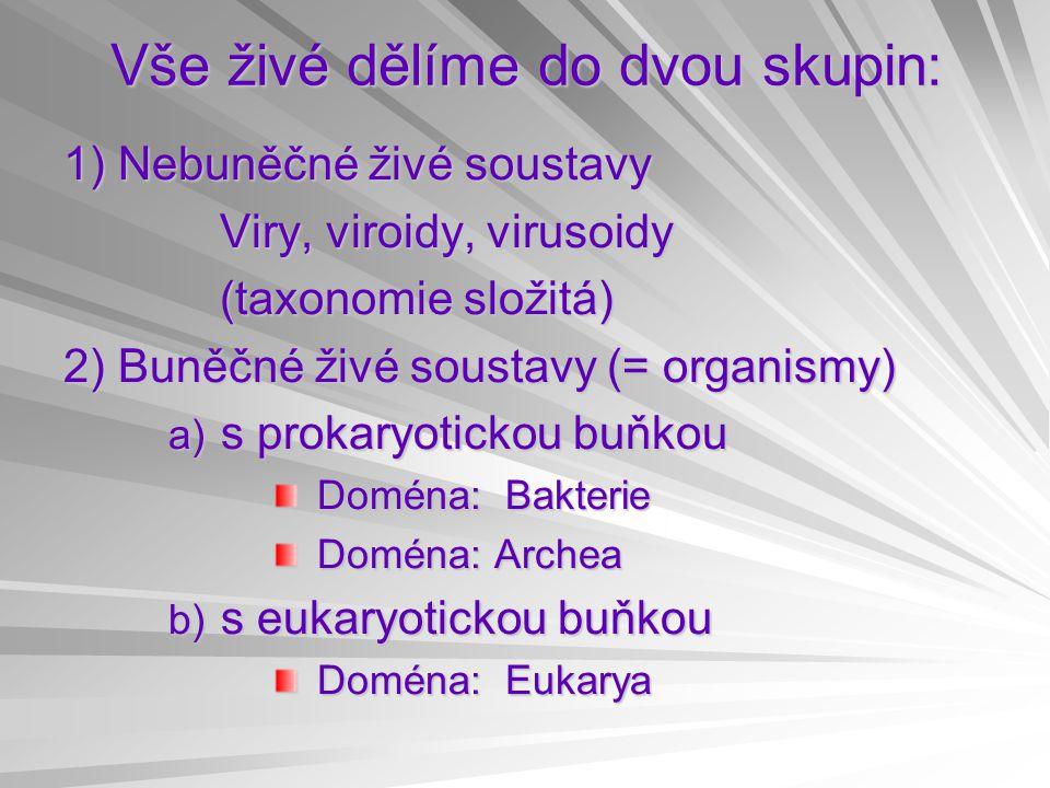 Vše živé dělíme do dvou skupin: 1) Nebuněčné živé soustavy Viry, viroidy, virusoidy Viry, viroidy, virusoidy (taxonomie složitá) (taxonomie složitá) 2