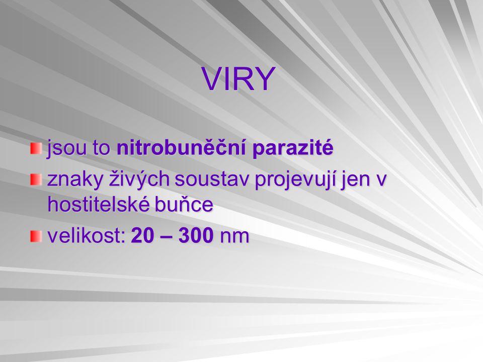 VIRY jsou to nitrobuněční parazité znaky živých soustav projevují jen v hostitelské buňce velikost: 20 – 300 nm