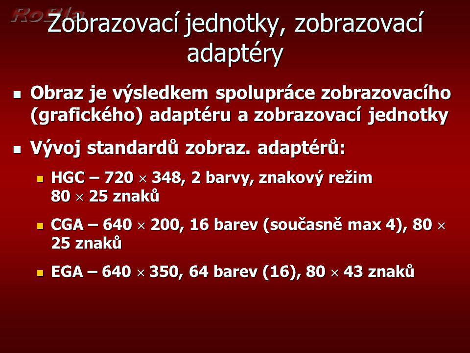 Zobrazovací adaptéry VGA – 640  480, 256 k barev (256 současně), 80  43 znaků VGA – 640  480, 256 k barev (256 současně), 80  43 znaků SVGA – 800  600 až 1600  1200, až 16 M barev SVGA – 800  600 až 1600  1200, až 16 M barev XGA XGA SXGA SXGA