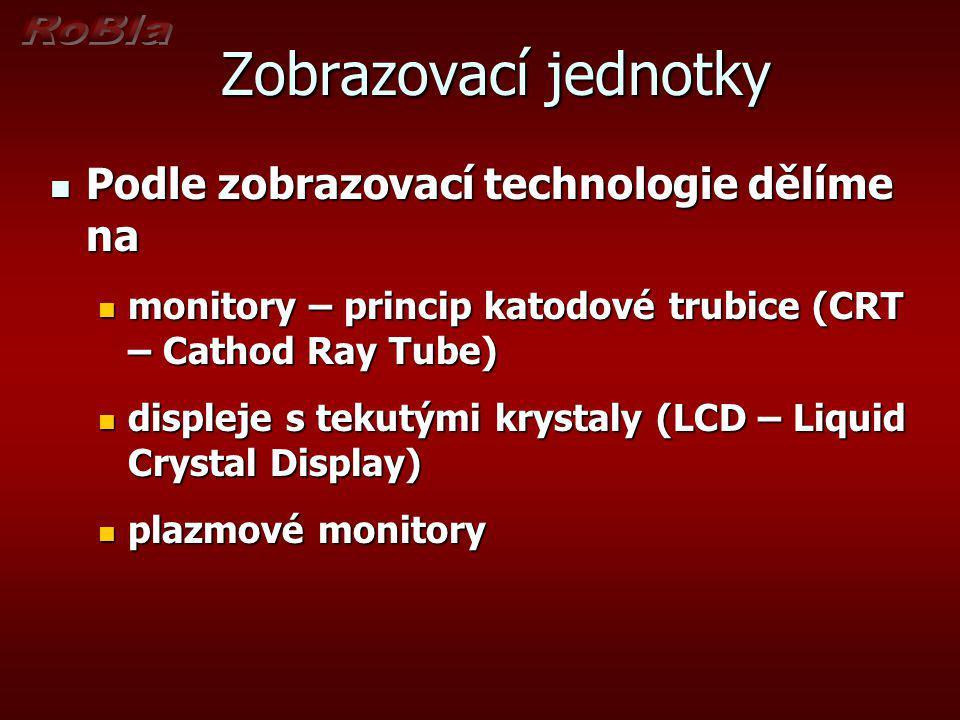 Zobrazovací jednotky Podle zobrazovací technologie dělíme na Podle zobrazovací technologie dělíme na monitory – princip katodové trubice (CRT – Cathod
