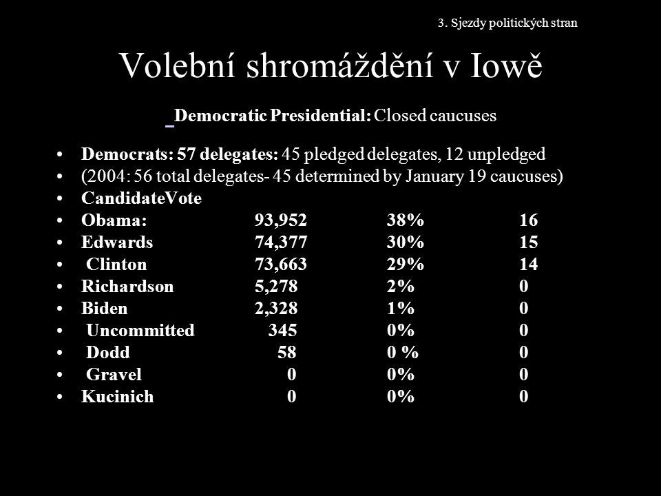 Volební shromáždění v Iowě Democratic Presidential: Closed caucuses Democrats: 57 delegates: 45 pledged delegates, 12 unpledged (2004: 56 total delega
