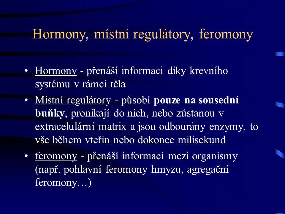 Hormony, místní regulátory, feromony Hormony - přenáší informaci díky krevního systému v rámci těla Místní regulátory - působí pouze na sousední buňky