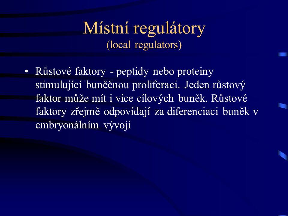 Místní regulátory (local regulators) Růstové faktory - peptidy nebo proteiny stimulující buněčnou proliferaci. Jeden růstový faktor může mít i více cí