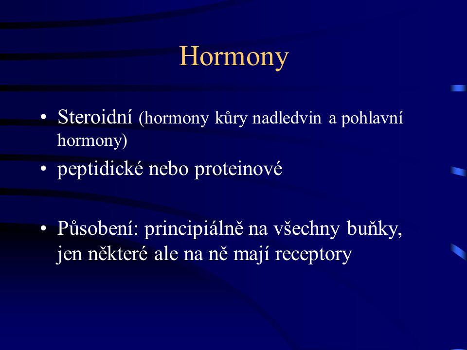 Hormony Steroidní (hormony kůry nadledvin a pohlavní hormony) peptidické nebo proteinové Působení: principiálně na všechny buňky, jen některé ale na n