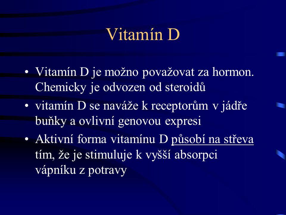 Vitamín D Vitamín D je možno považovat za hormon. Chemicky je odvozen od steroidů vitamín D se naváže k receptorům v jádře buňky a ovlivní genovou exp