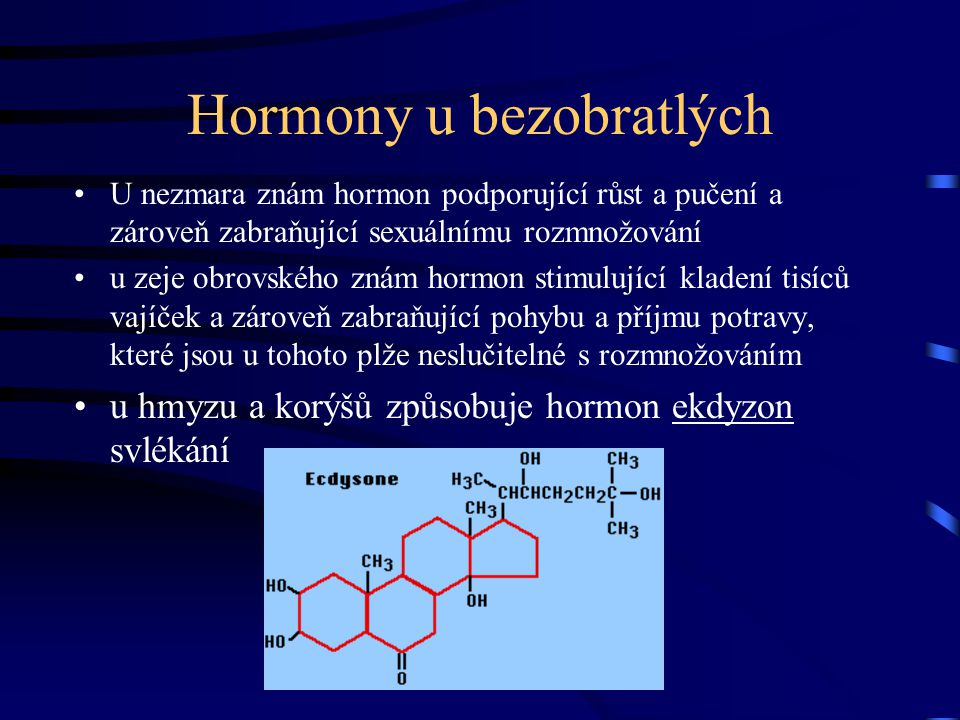 Hormony u bezobratlých U nezmara znám hormon podporující růst a pučení a zároveň zabraňující sexuálnímu rozmnožování u zeje obrovského znám hormon sti