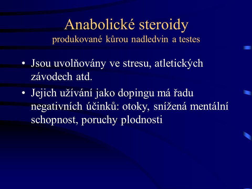 Anabolické steroidy produkované kůrou nadledvin a testes Jsou uvolňovány ve stresu, atletických závodech atd. Jejich užívání jako dopingu má řadu nega