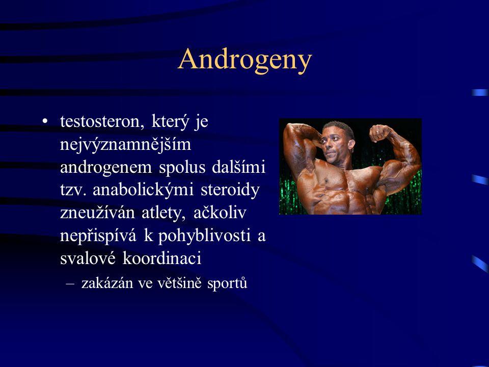 Androgeny testosteron, který je nejvýznamnějším androgenem spolus dalšími tzv. anabolickými steroidy zneužíván atlety, ačkoliv nepřispívá k pohyblivos