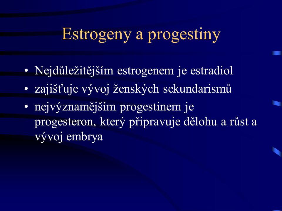 Estrogeny a progestiny Nejdůležitějším estrogenem je estradiol zajišťuje vývoj ženských sekundarismů nejvýznamějším progestinem je progesteron, který