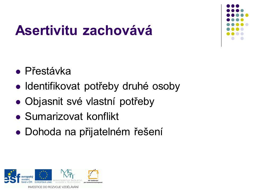 Asertivitu zachovává Přestávka Identifikovat potřeby druhé osoby Objasnit své vlastní potřeby Sumarizovat konflikt Dohoda na přijatelném řešení