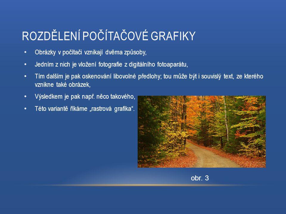 ROZDĚLENÍ POČÍTAČOVÉ GRAFIKY Obrázky v počítači vznikají dvěma způsoby, Jedním z nich je vložení fotografie z digitálního fotoaparátu, Tím dalším je pak oskenování libovolné předlohy; tou může být i souvislý text, ze kterého vznikne také obrázek, Výsledkem je pak např.