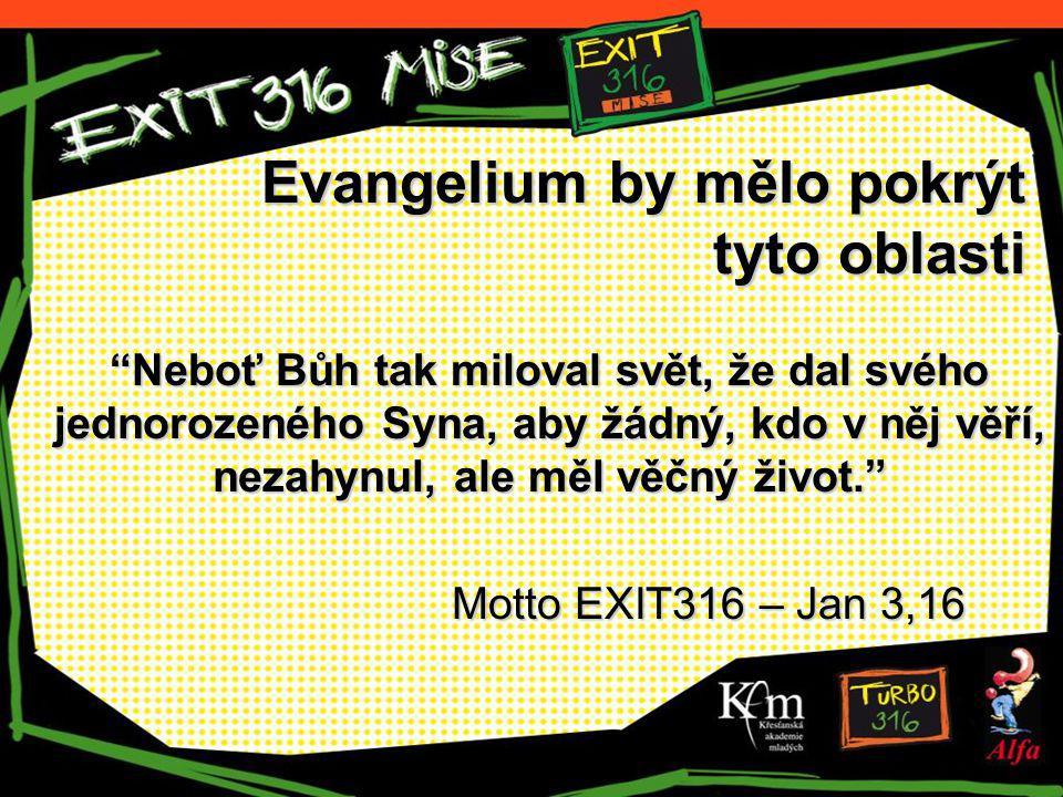 Evangelium by mělo pokrýt tyto oblasti Neboť Bůh tak miloval svět, že dal svého jednorozeného Syna, aby žádný, kdo v něj věří, nezahynul, ale měl věčný život. Motto EXIT316 – Jan 3,16