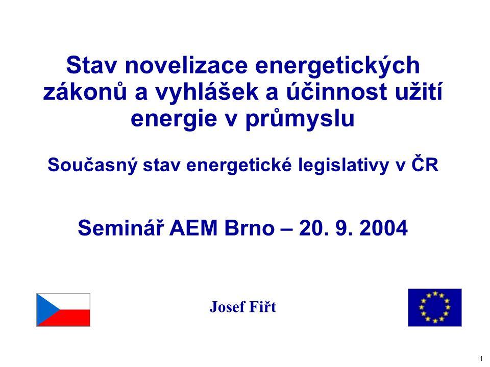 1 Stav novelizace energetických zákonů a vyhlášek a účinnost užití energie v průmyslu Současný stav energetické legislativy v ČR Seminář AEM Brno – 20.