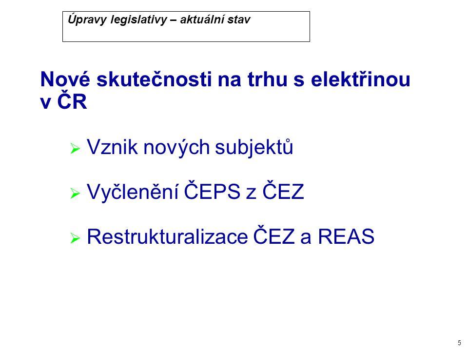 5 Úpravy legislativy – aktuální stav Nové skutečnosti na trhu s elektřinou v ČR  Vznik nových subjektů  Vyčlenění ČEPS z ČEZ  Restrukturalizace ČEZ a REAS