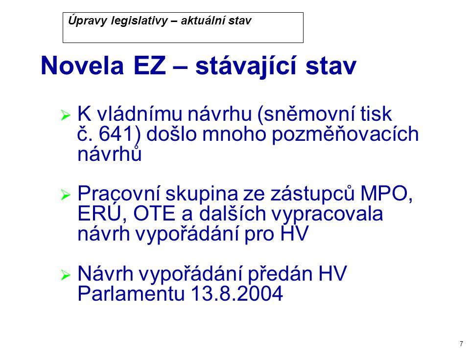 7 Úpravy legislativy – aktuální stav Novela EZ – stávající stav  K vládnímu návrhu (sněmovní tisk č.