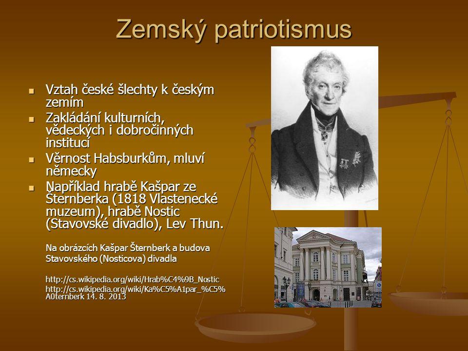Zemský patriotismus Vztah české šlechty k českým zemím Vztah české šlechty k českým zemím Zakládání kulturních, vědeckých i dobročinných institucí Zak