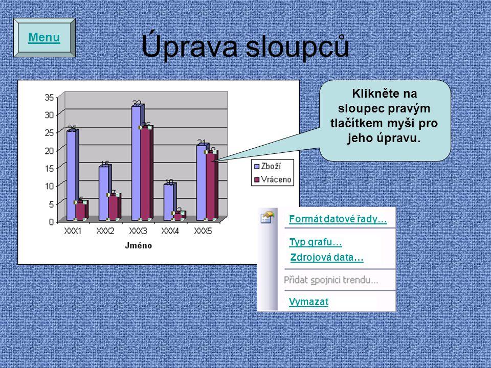 Úprava sloupců Formát datové řady… Typ grafu… Zdrojová data… Vymazat Klikněte na sloupec pravým tlačítkem myši pro jeho úpravu.