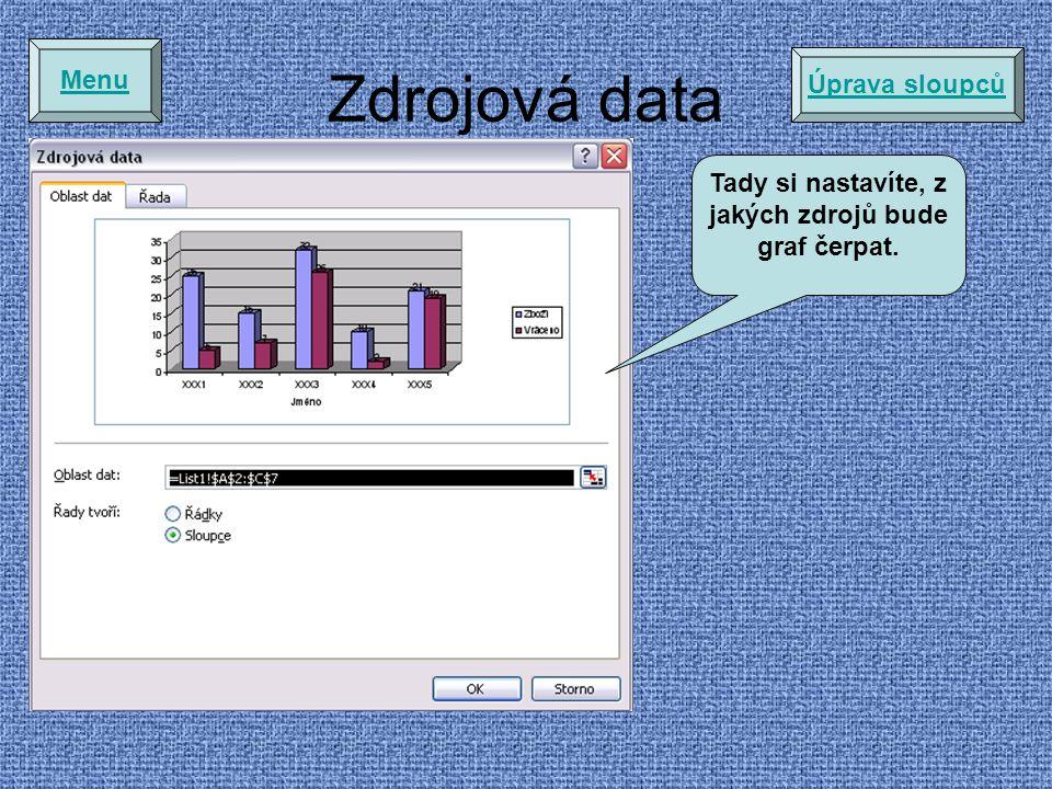 Zdrojová data Menu Úprava sloupců Tady si nastavíte, z jakých zdrojů bude graf čerpat.