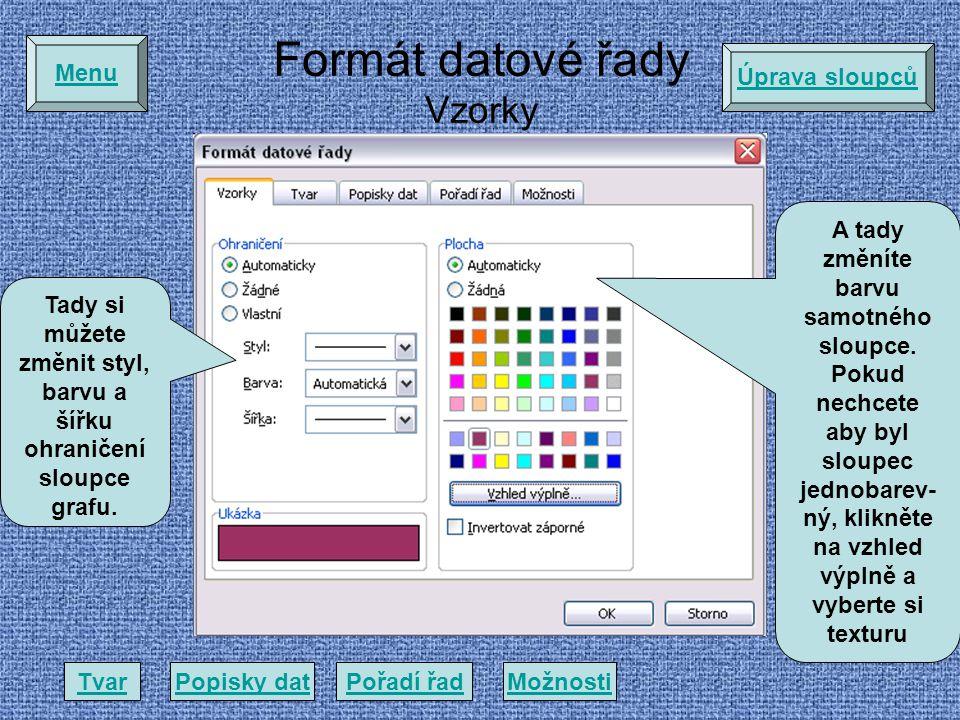 Formát datové řady Vzorky Tady si můžete změnit styl, barvu a šířku ohraničení sloupce grafu.