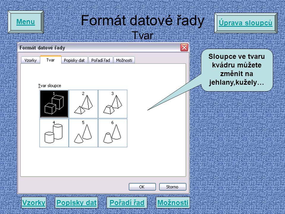 Formát datové řady Tvar VzorkyPopisky datMožnostiPořadí řad Menu Sloupce ve tvaru kvádru můžete změnit na jehlany,kužely… Úprava sloupců