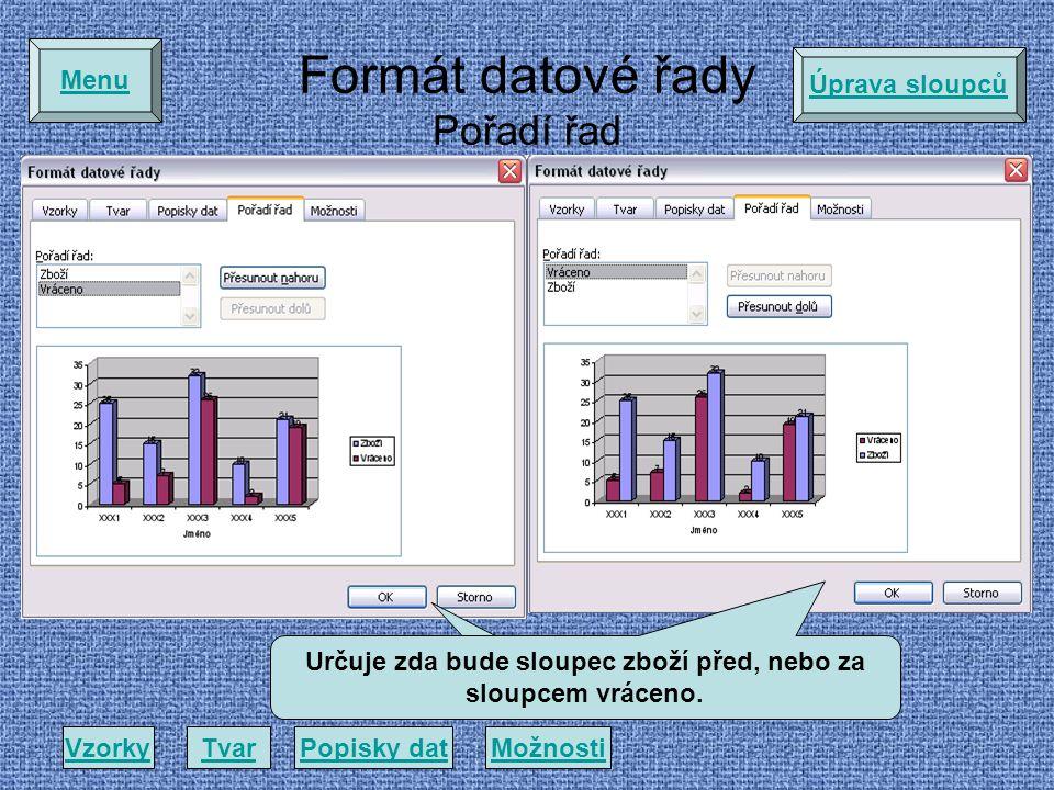 Formát datové řady Pořadí řad VzorkyTvarPopisky datMožnosti Menu Určuje zda bude sloupec zboží před, nebo za sloupcem vráceno.