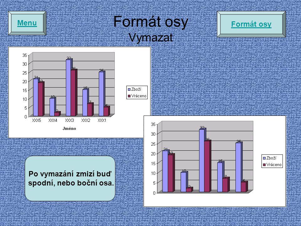 Formát osy Vymazat Menu Formát osy Po vymazání zmizí buď spodní, nebo boční osa.