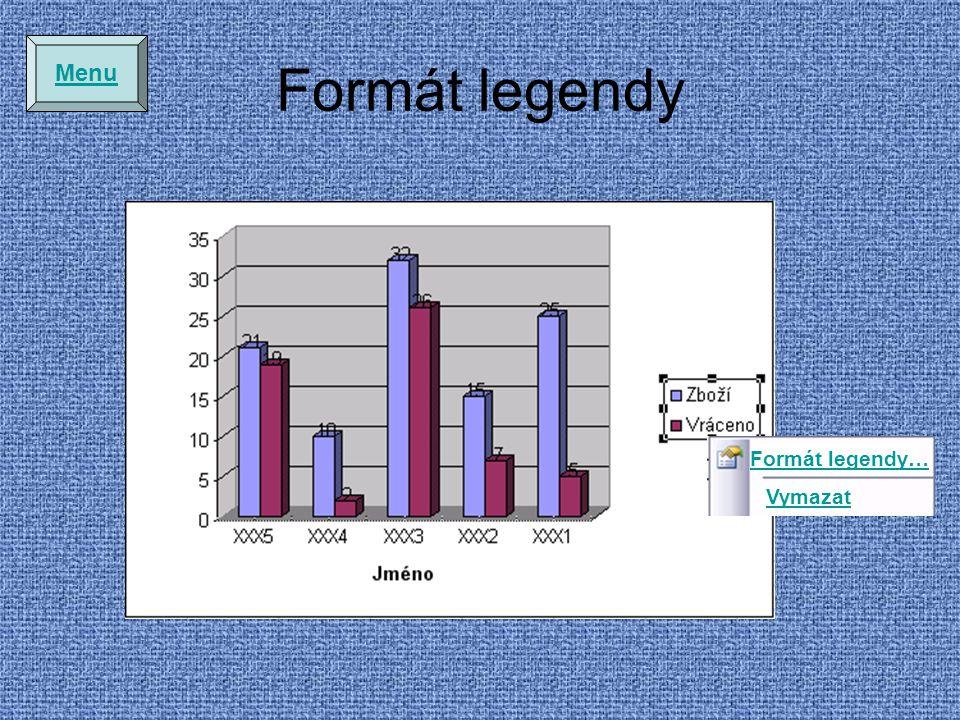 Formát legendy Menu Formát legendy… Vymazat