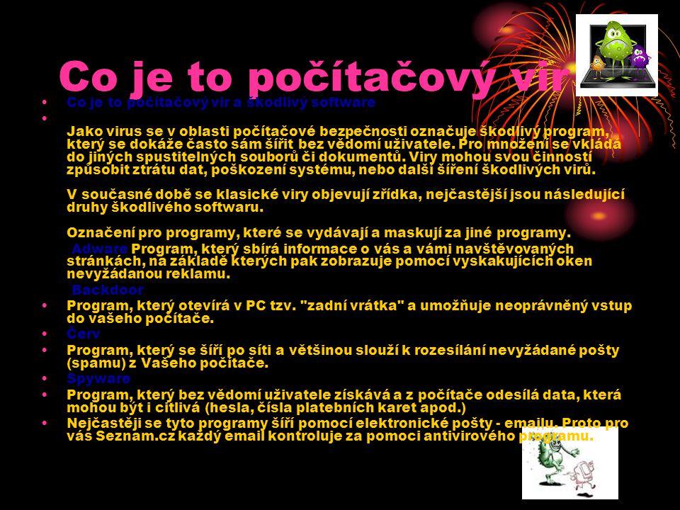 Projevy počítačových virů Blokování místa - Vir je také program a jako takový, musí být v počítači někde uložen.