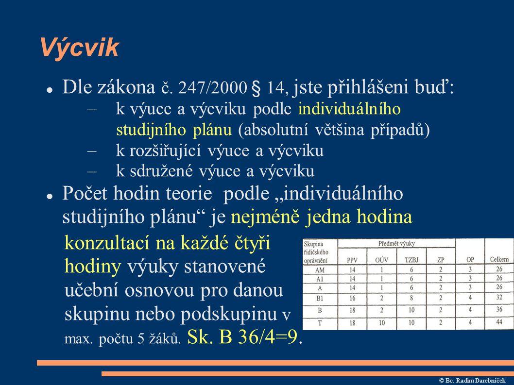 Výcvik Dle zákona č. 247/2000 § 14, jste přihlášeni buď: –k výuce a výcviku podle individuálního studijního plánu (absolutní většina případů) –k rozši