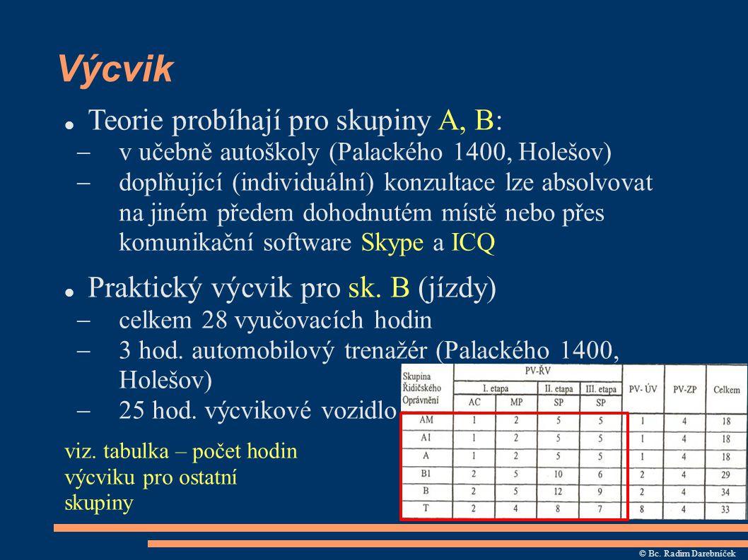 Výcvik Teorie probíhají pro skupiny A, B:  v učebně autoškoly (Palackého 1400, Holešov)  doplňující (individuální) konzultace lze absolvovat na jiné